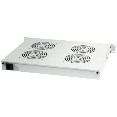 "4 Fans with LED Thermostat 1U Rack 19"" mount Grey - Techly Professional - I-CASE FAN-TC4G-1"