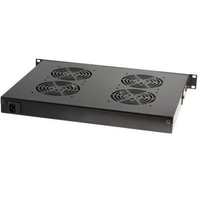 "4 Fans with LED Thermostat 1U Rack 19"" mount Black - Techly Professional - I-CASE FAN-TC4B-1"