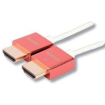 1m High Speed HDMI cable with Ethernet Ultra Slim Metal Cover Red - Techly - ICOC HDMI-SL-010MR-1