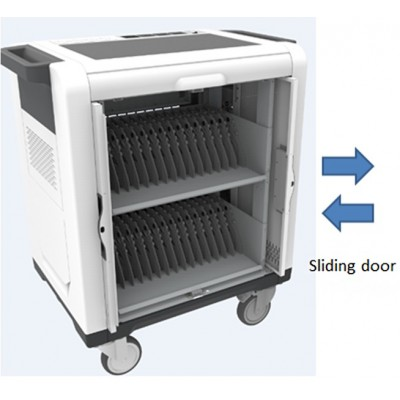 Charging Station Trolley USB 32 Tablets Sliding Doors Grey - Techly Professional - I-CABINET-02TY-1
