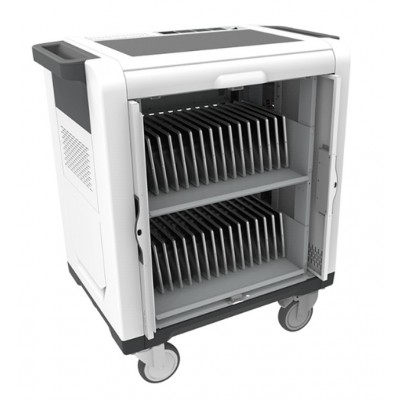 Charging Station Trolley USB 32 Tablets Sliding Doors Grey - Techly Professional - I-CABINET-02TY-2