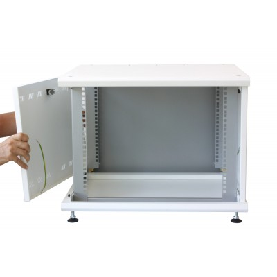 """19"""" Rack Cabinet Ideal for Photovoltaic Accumulators 8U P600mm White - Techly Professional - I-CASE EE-2008WH6-8"""