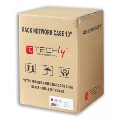 """Wall Rack Cabinet 10"""" 9 unit with removable panels Grey  - Techly Professional - I-CASE EM-1009GPTY-1"""