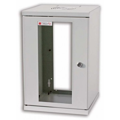 "Wall Rack Cabinet 10"" 9U Glass Door Grey - Techly Professional - I-CASE EM-1009GTY-1"