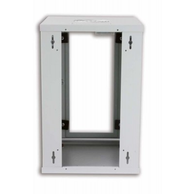 "Wall Rack Cabinet 10"" 9U Glass Door Grey - Techly Professional - I-CASE EM-1009GTY-3"