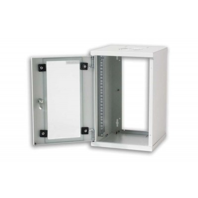 "Wall Rack Cabinet 10"" 9U Glass Door Grey - Techly Professional - I-CASE EM-1009GTY-4"