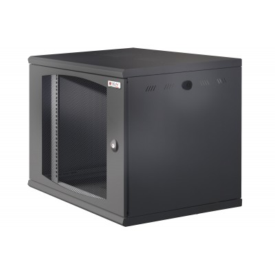 "Wall Rack 19"" Wall Mounted 10U Single Section D 500mm Black Grille Door - Techly Professional - I-CASE EW-2010BK5V-1"