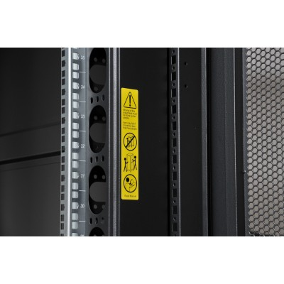 """NetRack Cabinet 19"""" 600x1000 24 Units Vented ports Black in Flat Pack  - Techly Professional - I-CASE FP-24VTBK2-3"""