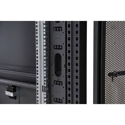 """NetRack Cabinet 19"""" 600x1000 24 Units Vented ports Black in Flat Pack  - Techly Professional - I-CASE FP-24VTBK2-6"""