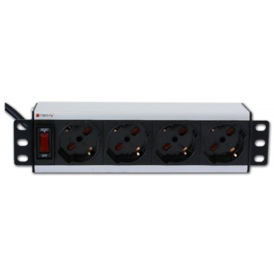 Universal PDU 4 UNEL socket for 10'' rack with on/off switch  - Techly Professional - I-CASE M10-4P-1