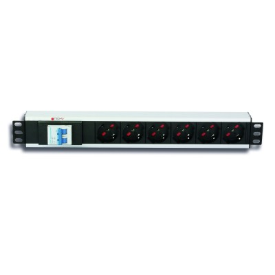 Rack 19'' PDU 6 outputs with circuit breaker and C14 plug - Techly Professional - I-CASE STRIP-16V-1