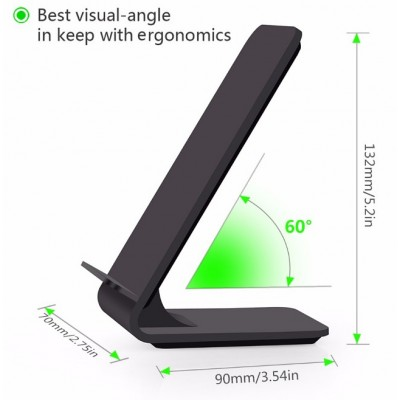 Wireless Fast Qi Stand Vertical 10W Charger Black - Techly - I-CHARGE-WRA10B-4