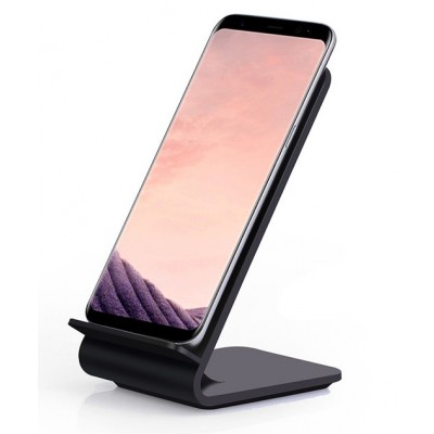 Wireless Fast Qi Stand Vertical 10W Charger Black - Techly - I-CHARGE-WRA10B-1