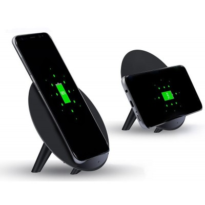 Wireless Fast Qi Stand Charger 5W with UV Coating Black - Techly - I-CHARGE-WRKUV-5W-5