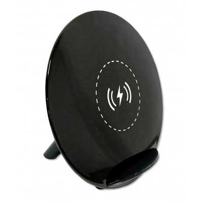 Wireless Fast Qi Stand Charger 5W with UV Coating Black - Techly - I-CHARGE-WRKUV-5W-1