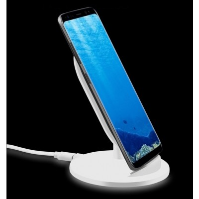 Wireless Charger Qi Stand Steady 5W White - Techly - I-CHARGE-WRM-5W-5
