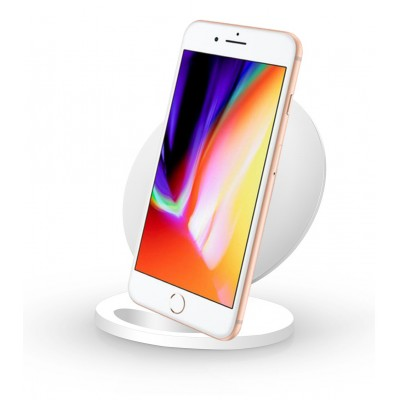 Wireless Charger Qi Vertical Stand 5W White - Techly - I-CHARGE-WRQ-5WH-1