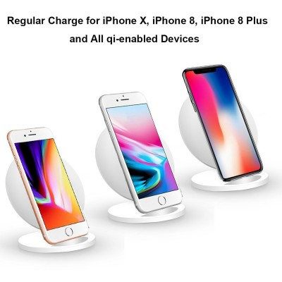 Wireless Charger Qi Vertical Stand 5W White - Techly - I-CHARGE-WRQ-5WH-5