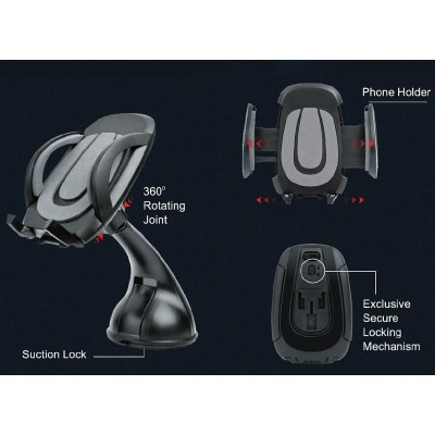 Universal Car Holder for iPhone and Smartphone with Suction - Techly - I-SMART-VENT52-5