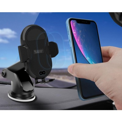 Qi Wireless car charger with sucker with automatic adjustment - Techly Np - I-SMART-WRL3-4