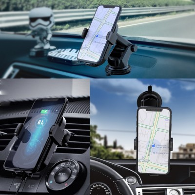 Qi Wireless car charger with sucker with automatic adjustment - Techly - I-SMART-WRL41-8