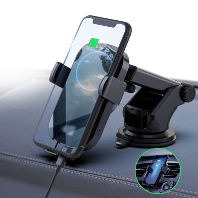 Qi Wireless car charger with sucker with automatic adjustment - Techly - I-SMART-WRL41-5