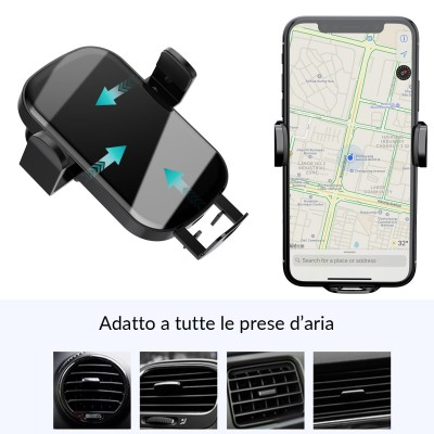 Qi Wireless car charger with sucker with automatic adjustment - Techly - I-SMART-WRL41-11