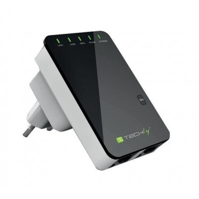 Wall Plug Wireless Router 300N Wall Repeater2 - Techly - I-WL-REPEATER2-1