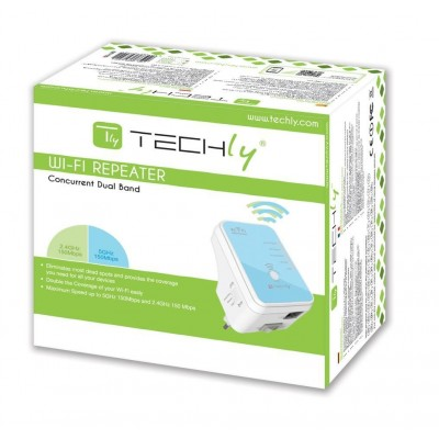 Wall Plug WiFi Mini Router 300Mbps Dual Band Repeater4 - Techly - I-WL-REPEATER4-1