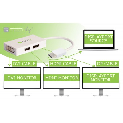 3-in-1 Adapter from DisplayPort to DVI, HDMI and DisplayPort - Techly - IADAP DP-COMBOF3-1