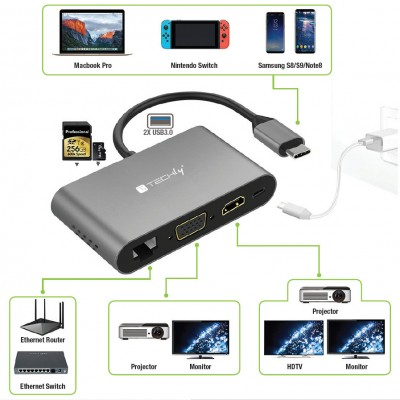 Multiport SuperSpeed USB-C™ Docking Station - Techly - IADAP USB31-DOCK3-3