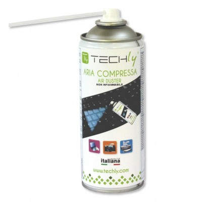 Aerosol Spray Compressed Air Cleaner 400ml Not flammable - Techly - ICA-CA 300T-1
