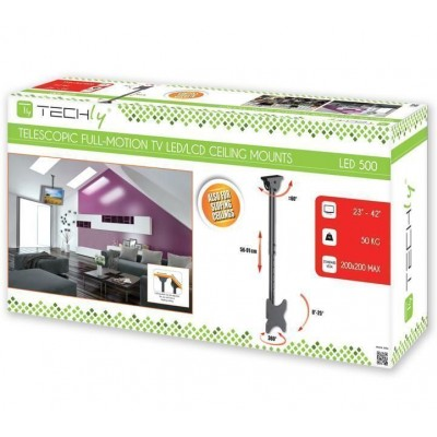 """Telescopic Ceiling Support up to 1m for LED LCD TV 23-42"""" - Techly - ICA-CPLB 922S-1"""