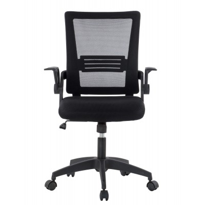 Black Office chair with padded seat and net fabric back - Techly - ICA-CT MC003BK-1