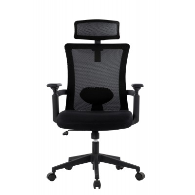 Office Chair with High Back and Adjustable Headrest Black - Techly - ICA-CT MC016-1