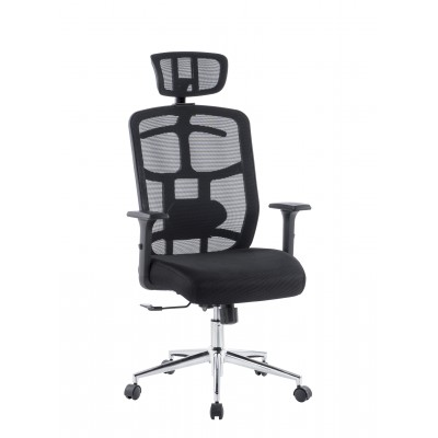 Office Chair with High Back, Headrest and Chrome Base Black - Techly - ICA-CT MC020-1