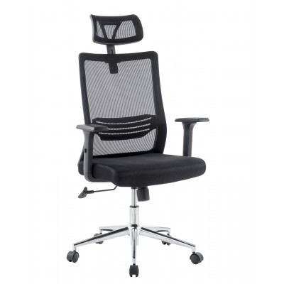 Office Chair with High Backrest Headrest and Chrome Base Black - Techly - ICA-CT MC021-2