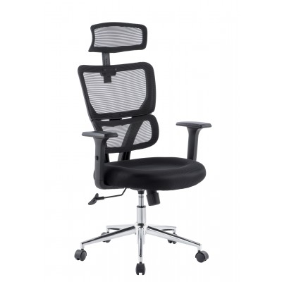Office Chair with Two Sections High Backrest and Chromed Base Black  - Techly - ICA-CT MC023-1