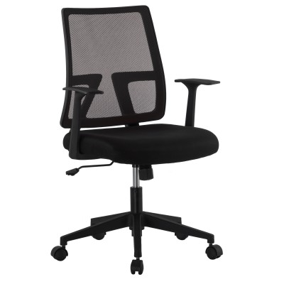 Office chair with padded seat and net fabric back - Techly - ICA-CT MC085BK-1