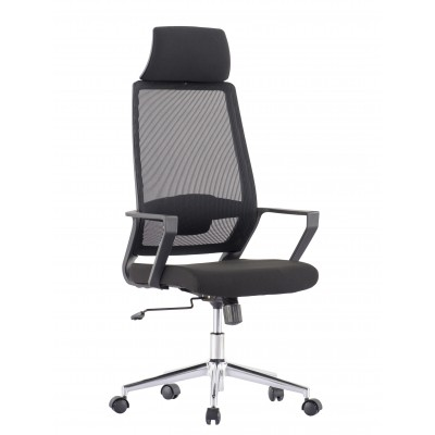 Office Chair with High Back and Black Chromed Base - Techly - ICA-CT MCA033-1