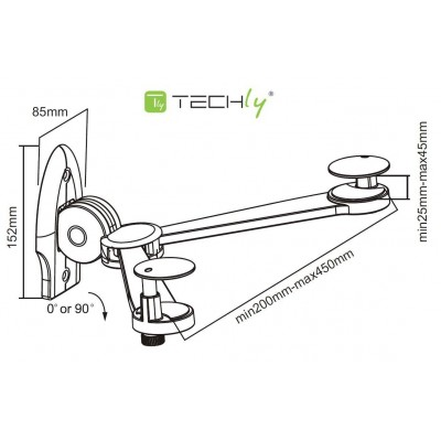 Folding Wall Support for Audio / Video Devices - Techly - ICA-DRS 500-2