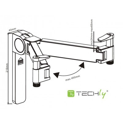 Universal Wall Support for Audio / Video Devices - Techly - ICA-DRS 501-3