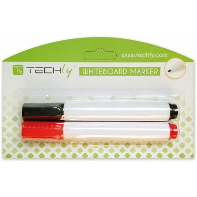 Kit 2 Markers for Blackboard, Red and Black - Techly - ICA-DZ KIT1-1