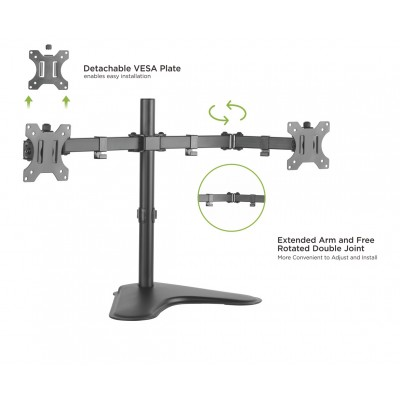 "Double Joint Monitor Arm for 2 Monitors 13-32"" with base - Techly - ICA-LCD 2524-5"