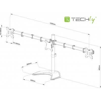 "Desk monitor arm for 3 Monitor 13-24"" with base - Techly - ICA-LCD 2530-1"