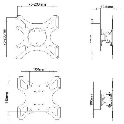 Wall Support for LCD LED 19-37' Tiltable 1 Joint White - Techly - ICA-LCD 2900WH-3