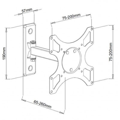 "Wall Support for LCD LED 19-37"" Tilting 2 joints White - Techly - ICA-LCD 2901WH-3"