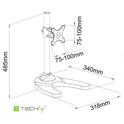 """Desk Stand for 1 Monitor 13 """"-27"""" with Base - Techly - ICA-LCD 3500-2"""