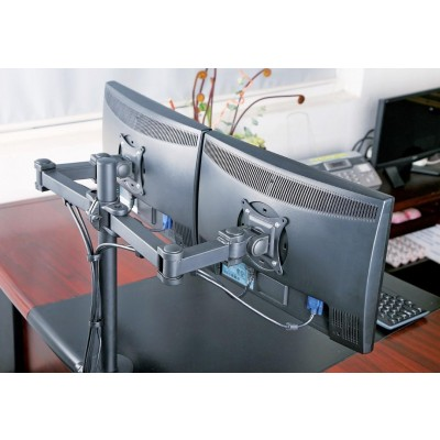 """Desk Stand for 2 Monitors 13-27"""" Side by Side with Clamp - Techly - ICA-LCD 382-D-4"""