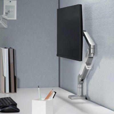 """Desk stand for 17-32"""" monitor  with Gas Spring White Silver - Techly - ICA-LCD 441-2"""